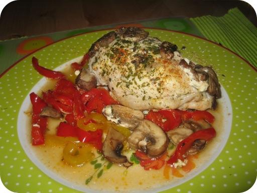 Kip met paprik en champignons uit de oven