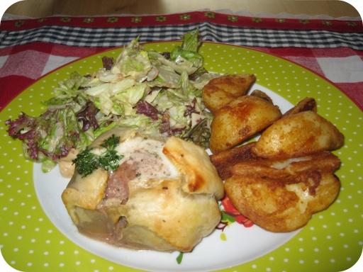 Beef Wellington, Gebakken Aardappelschijfjes en Ceasar Salade