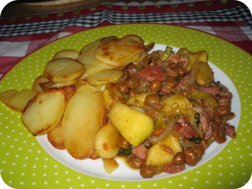 Kapucijnerschotel met Chorizo en Appel met aardappelschijfjes