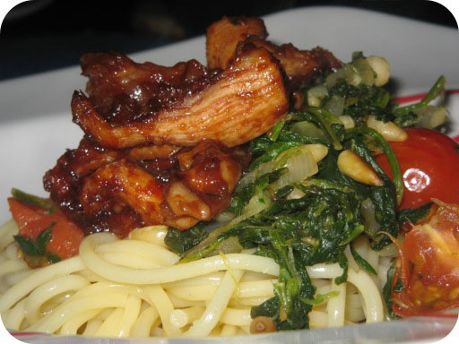 Spaghetti met Spinazie en Sticky Kip