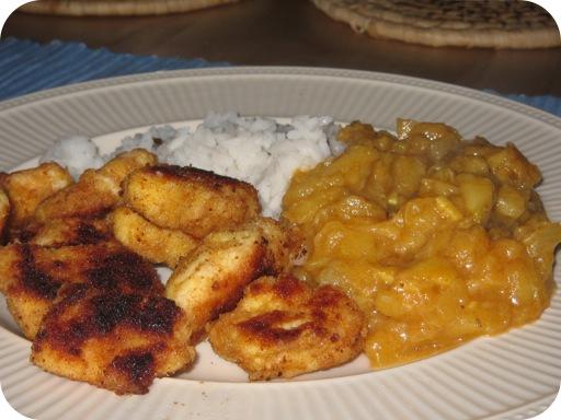 Gepaneerde Kip met een Fruitige Curry