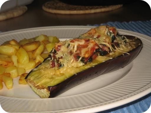 Aubergine gevuld met Spinazie, Tomaat en Chorizo