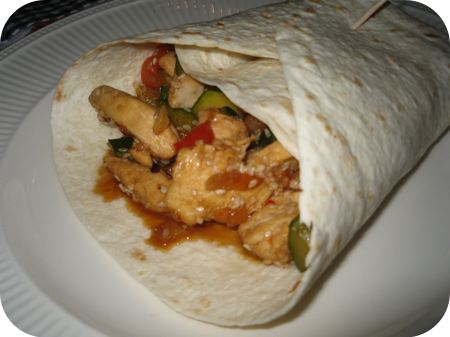 Wraps met Kipfilet, Courgette en Paprika