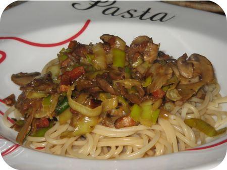 Spaghetti met Champignons en Prei