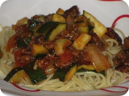 Spaghetti met Courgette en Gehakt