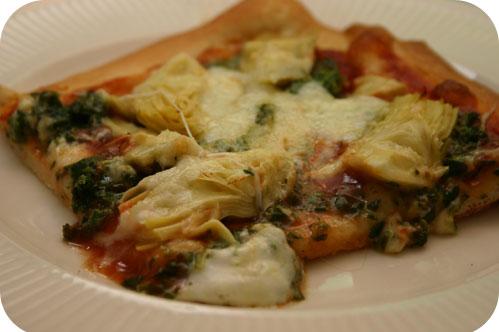 Pizza met Spinazie en Artisjok