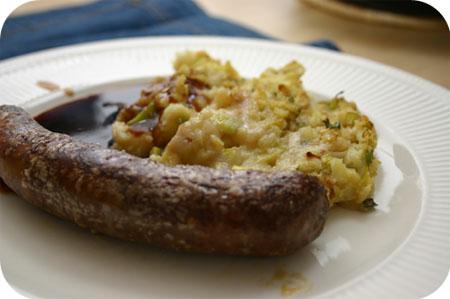 Prei-Aardappelpuree met Saucijzen