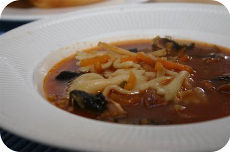 Maaltijdsoep met Champignons en Pasta