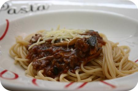 Spaghetti met Champignons en Gehakt