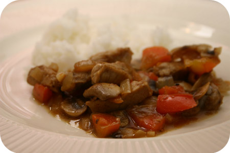 Rijst met Hamlapjes, Wortel en Champignons