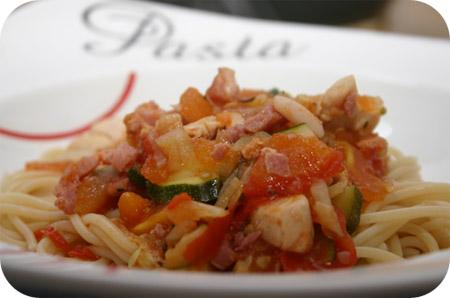 Spaghetti met Courgette, Tomaat en Kip