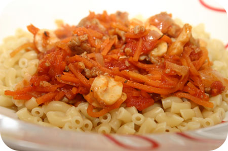 Macaroni met Gehakt, Wortel en Champignons