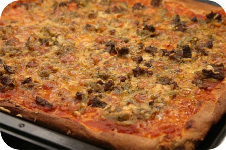 Pizza met Sperziebonen en Rundvleesreepjes