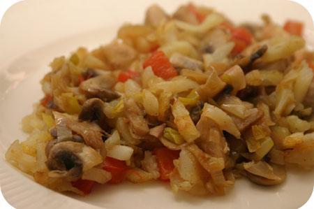 Aardappelschotel met Kip, Paprika en Champignons