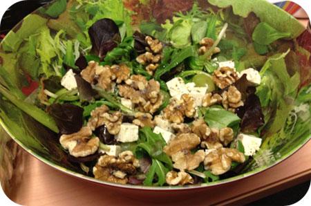 Salade met Noten, Druiven en Feta