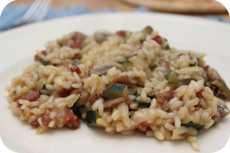 Risotto met Ontbijtspek, Champignons en Courgette