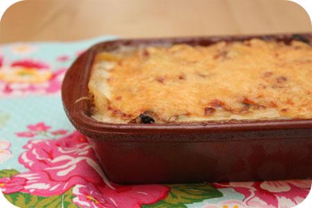 Lasagne met Kip, Champignons en Paprika
