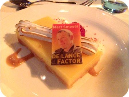 NS Publieksprijs Diner het dessert: 'tarte au citron', citroentaart met merengue, crème van vanille en verse frambozen