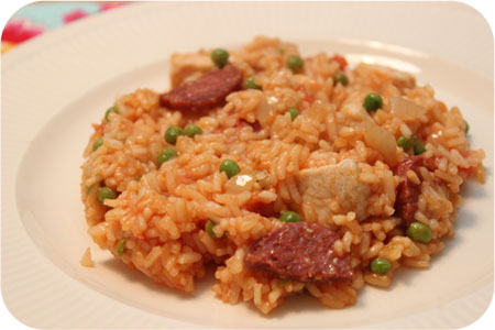 Paella met Kip, Chorizo en Doperwten